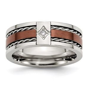 Men's stainless steel diamond band by Chisel